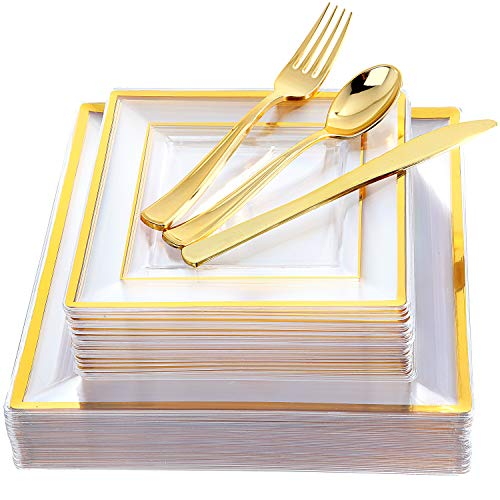 IOOOOO 120 Pieces Clear Gold Plastic Square Plates with Disposable Silverware Via Amazon