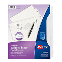 Avery Big Tab Write & Erase Durable Plastic Dividers, 5 White Tabs, 1 Set Via Amazon