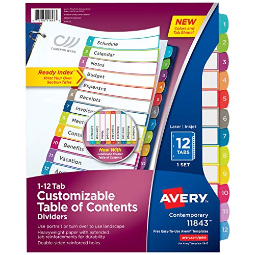 Avery 12-Tab Binder Dividers, Customizable Table of Contents Via Amazon