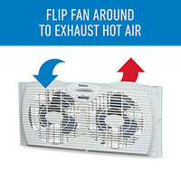 Holmes Window Fan with with Twin 6-Inch Reversible Airflow Blades, White Via Amazon