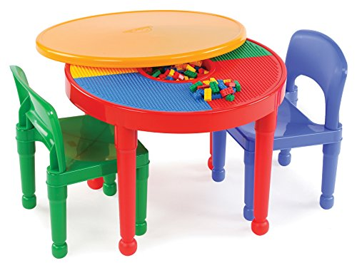 Tot Tutors Kids 2-in-1 Plastic Building Blocks-Compatible Activity Table and 2 Chairs Set Via Amazon