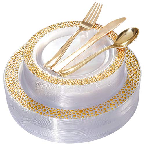 BUCLA 25 Guest Clear Gold Plastic Plates with Disposable Plastic Silverware Via Amazon