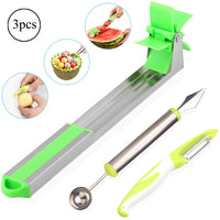 Watermelon Windmill Slicer Cutter Stainless Steel Fruit Vegetable Knife with Melon Baller Scoop & Paring Knife Via Amazon
