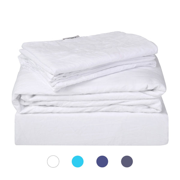 Luxury Bed Sheets with Natural Wrinkles, Sheet Set 4 Pieces Via Amazon