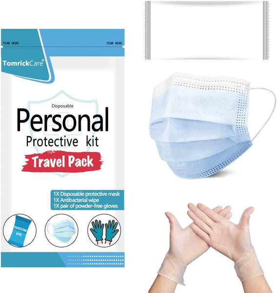 10 Pack Personal Protection Kit – Nitrile Gloves, Mask, Wipes Via Amazon