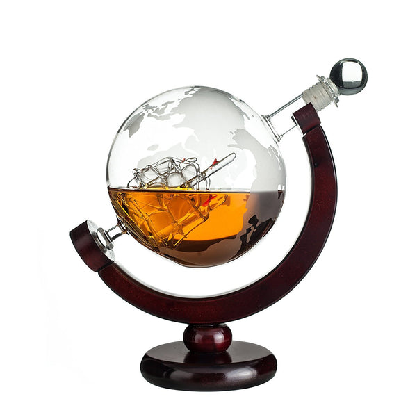 Whiskey Globe Decanter with Wood Stand Via Amazon ONLY $19.99 Shipped! (Reg $40)