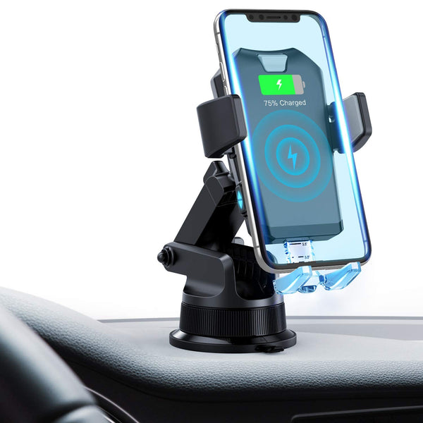 FITFIRST Wireless Car Charger Mount, Fast Charging Qi Car Phone Holder Air Vent Dashboard Via Amazon