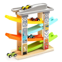 Top Bright Wooden Ramp Race Track with 4 Mini Cars Via Amazon