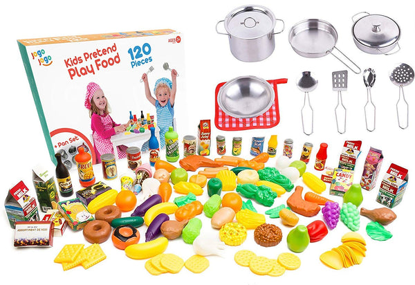kids play kitchen accessories sets kids pots and pans Via Amazon