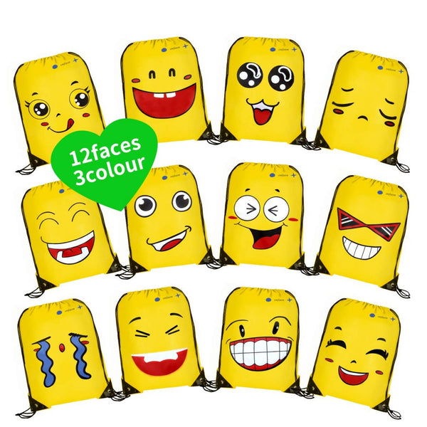 12 Pack Emoji Drawstring Backpack, Pouch Sackpack Via Amazon