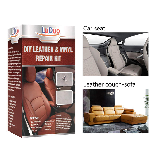 Leather Vinyl Repair Kit -Restorer for Furniture, Couch, Car Seats, Sofa, Easy Instructions, Any Color, For Bonded, Italian, Pleather, Genuine Via Amazon