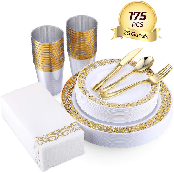 175PCS Gold Disposable Dinnerware Sets Via Amazon