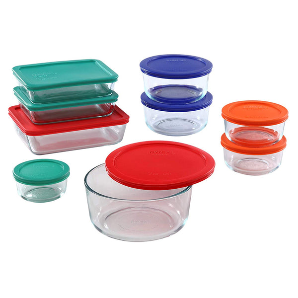 Pyrex Simply Store Glass Rectangular and Round Food Container Set 18-Piece Via Amazon