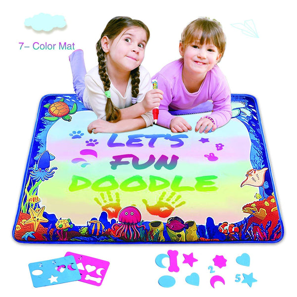 Magic Water Drawing Mat, Upgrade Doodle Mat in 7-Colored, Aqua Painting Board Writing Mats with Magic Pen Via Amazon