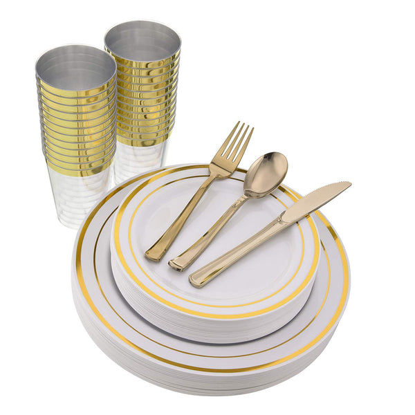 150 PCS Gold Disposable Plastic Dinnerware Set Via Amazon SALE $24.99 Shipped! (Reg $49.99)