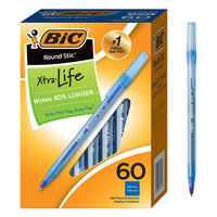 BIC Round Stic Xtra Life Ballpoint Pen, Medium Point (1.0mm), Blue, 60-Count Via Amazon ONLY $3.99 Shipped! (Reg $12.49)