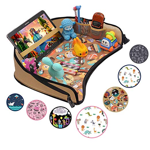 Kids Travel Activity Tray – Non-Flimsy, Tablet Holder – Waterproof Snack, Play,& Organize Via Amazon