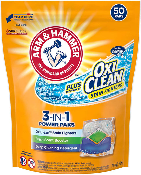 2-Pack Arm & Hammer Plus OxiClean HE 3-in-1 Laundry Detergent Power Paks, 50 Count Via Amazon