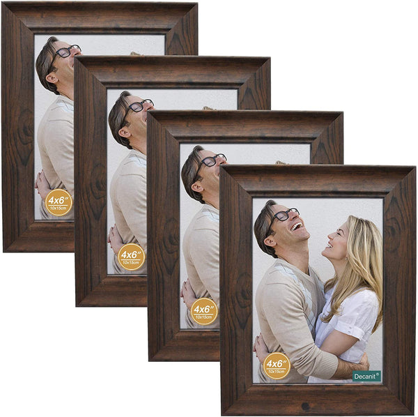 4 Pack Brown Wood Picture Frames 4x6 or 5x7 Via Amazon