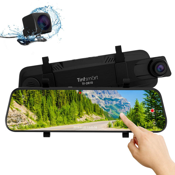 Dual Dash Cam 10″ Full HD Touch Screen Via Amazon