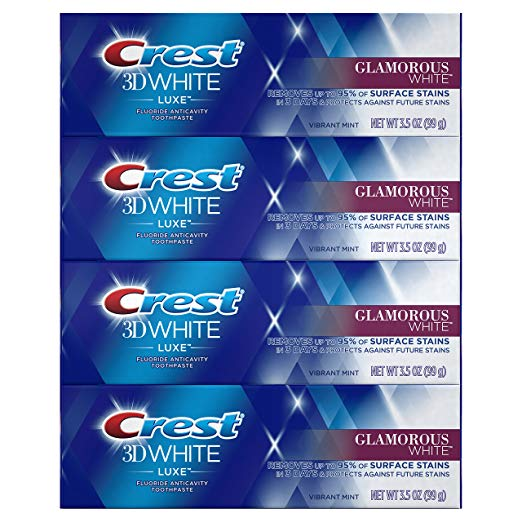 4-Pack Crest 3D White Luxe Toothpaste, 3.5 oz Via Amazon