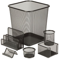 6 Pcs Powder Coated Steel Mesh Desk Set Via Amazon