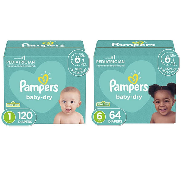 Pampers Baby Dry Diapers Size 1, 120 Count or Size 6, 64 Count Via Amazon