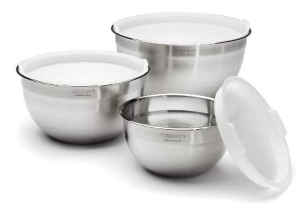 Cuisinart CTG-00-SMB Stainless Steel Mixing Bowls with Lids, Set of 3 Via Amazon