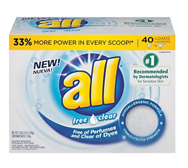 40 Loads all Powder Laundry Detergent, Free Clear for Sensitive Skin Via Amazon