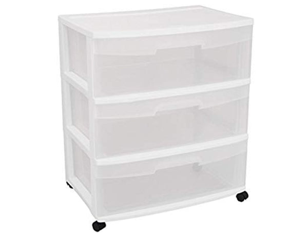 Wide 3 Drawer Cart, White Frame with Clear Drawers and Black Casters, 1-Pack Via Amazon ONLY $18.98 Shipped! (Reg $37.99)