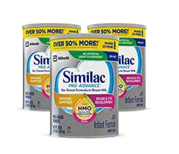3-Pack Similac Pro-Advance Non-GMO Infant Formula with Iron (36 oz) Via Amazon ONLY $77.76 Shipped! (Reg $130)