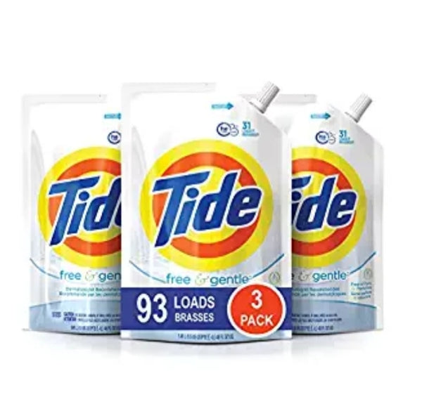 3-Pack Tide Smart Pouch Free & Gentle HE Liquid Laundry Detergent Via Amazon ONLY $11.95 Shipped! (Reg $19.98)