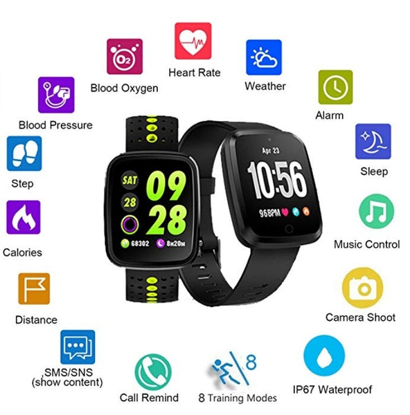 Feifuns IP67 Waterproof Fitness Tracker Watch with Heart Rate Blood Pressure Monitor Via Amazon