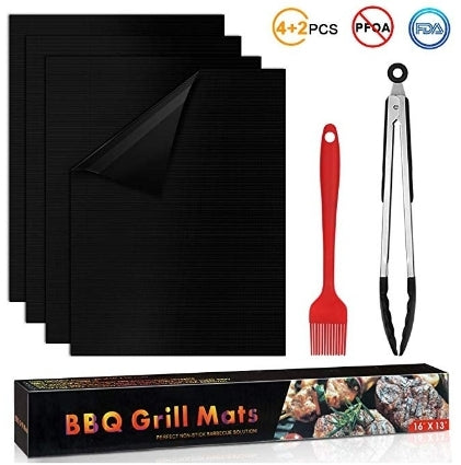 Set of 4 Non Stick BBQ Grilling Mat Via Amazon