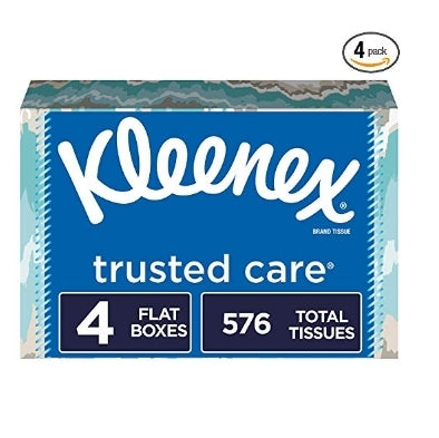 4 Flat Boxes Kleenex Trusted Care Facial Tissues Via Amazon