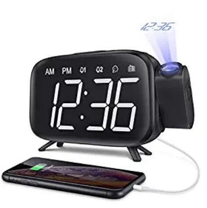 Projection Alarm Clock Large Digital Light and LED Display Via Amazon