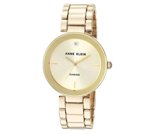 Anne Klein Women's Diamond Dial Gold-Tone Bracelet Watch Via Amazon