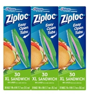 Ziploc Sandwich Bags, XL, 3 Pack Via Amazon