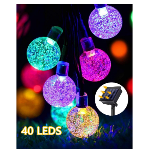 25ft 40 Led Solar Powered Crystal Ball String Lights Via Amazon