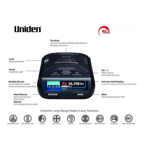 UNIDEN R3 Extreme Long Range Laser/Radar Detector, Built-in GPS w/ Mute Memory, Voice Alerts, Red Light & Speed Camera Alerts Via Amazon