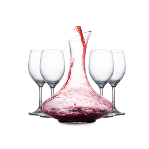 Wine Aerator Decanter and Carafe with 4 Red Wine Glasses via Amazon