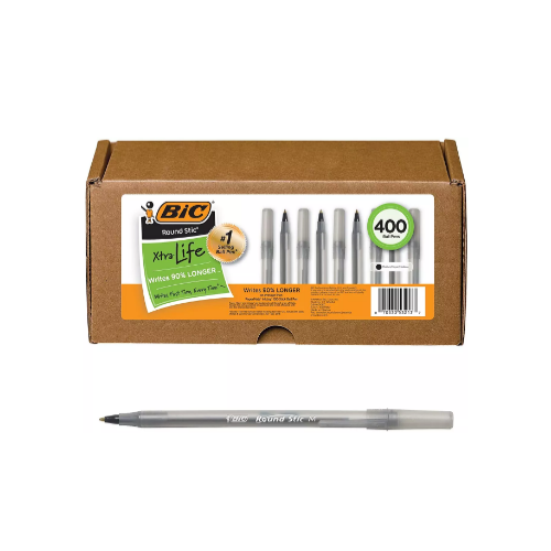 400 Count BIC Round Stic Xtra Life Ball Pen Via Amazon