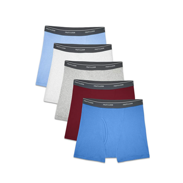 5 Fruit of the Loom Boys' Assorted Print Boxer Briefs Via Amazon