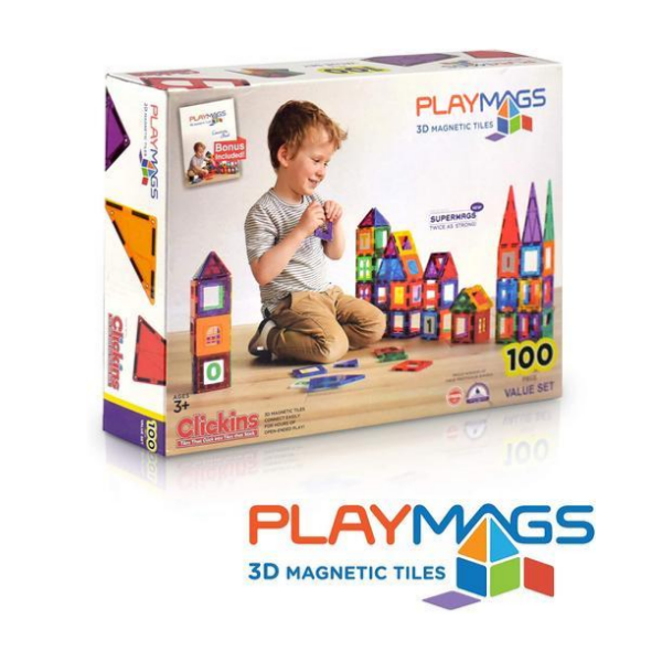Playmags 3D Magnetic Blocks for Kids Set of 100 Via Amazon