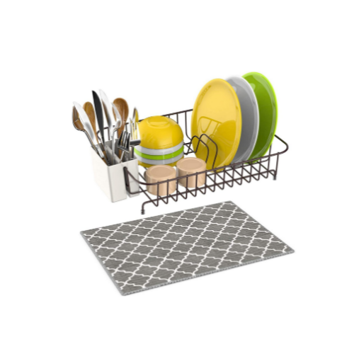 Microfiber Dish Drainer Mat with Dish Rack Wire Via Amazon