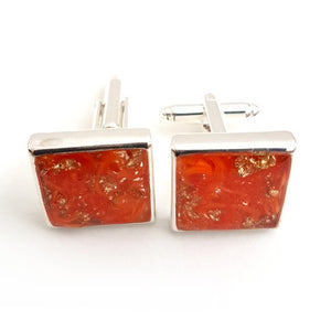 Large square orange and gold leaf cufflinks