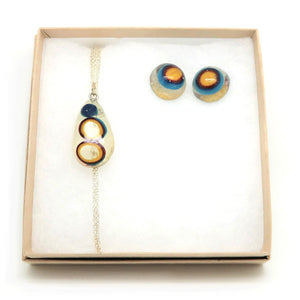 Resin Drop Necklace + Dome Stud Earrings