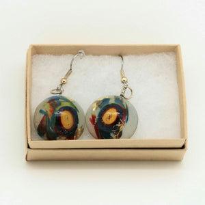 Large Dome Hook Earrings with Gold Leaf