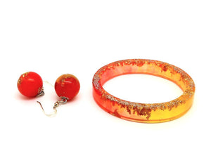 Resin Bangle + Bead Hook Earrings