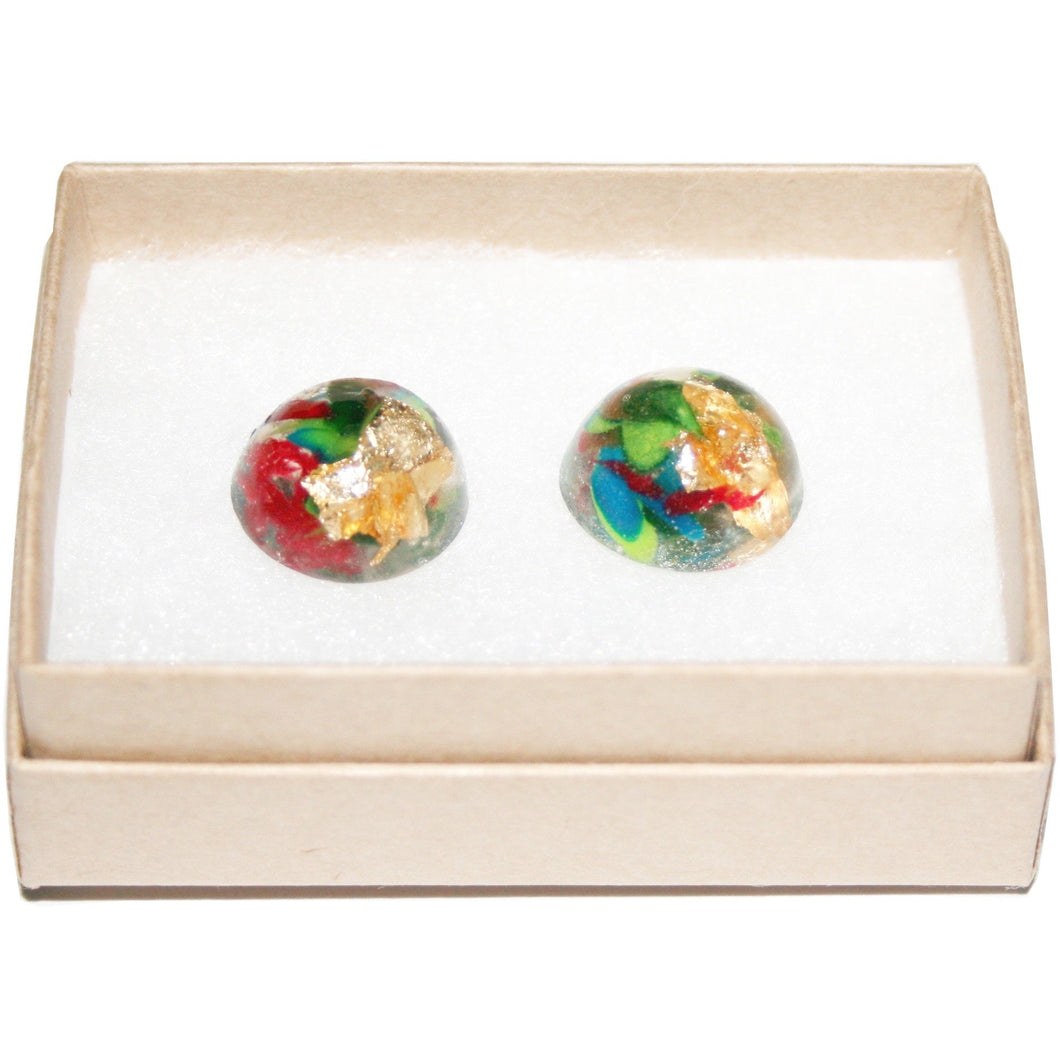 Medium Dome Stud Earrings with Gold Leaf